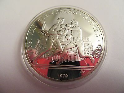 1979 Russia Unc Sterling Silver 10 Roubles, 1980 Moscow Olympics, Boxing