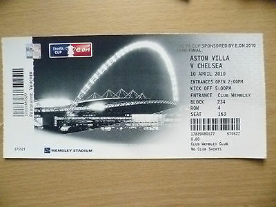 Tickets Stubs: 2010 FA Cup SEMI FINAL- ASTON VILLA v CHELSEA, 10 April