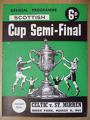1962 Scottish Cup Semi Final Programme: Celtic v. ST. Mirren 31 March- Ibrox St