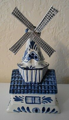 Vintage Delft Blue Windmill Bank Money Box Ceramic Hand Painted Holland