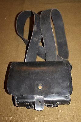 Original Pre WW1 Era U.S. Black Leather Rifle Cartridge Box and Strap