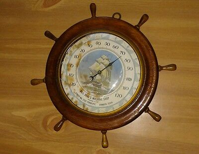 """VINTAGE THERMOMETER WOOD SHIPS WHEEL NAUTICAL ADVERTISING TEXAS 1950's 10"""""""