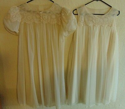 Vintage Shadowline Two Layer Chiffon Babydoll Gown & Robe Size Small Cream Nylon