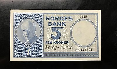 {BJSTAMPS} Norway 5 Kroner 1955 VF/XF P-35a