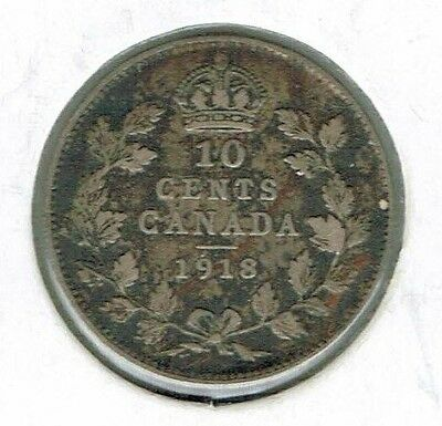 1918 Canadian George V Circulated Business Strike Silver 10 Cent Coin!