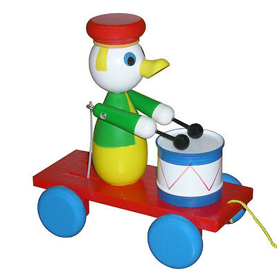 Wooden Pull Along Toy - Duck With Drum - Handmade In Czech Republic