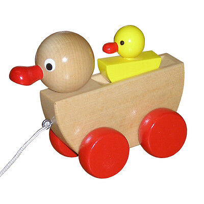 Wooden Pull Along Toy Duck With Duckling - Handmade In Czech Republic