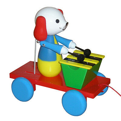 Wooden Pull Along Toy - Dog With Xylophone - Handmade In Czech Republic