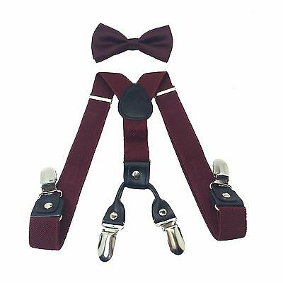 School Kids 4-Clips Suspender and Bow Tie Set for Boys Girls Children Burgundy