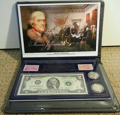 Thomas Jefferson Collection – Coins, Stamps, Two-Dollar Bill - Commemorative Set