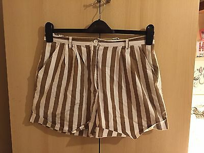 High-waisted Brown/White Striped Vintage shorts UK size 16 - used