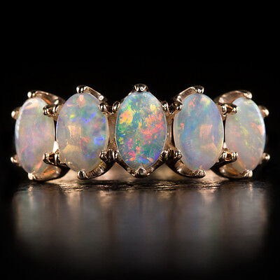 Natural Opal Band Vintage Cocktail Ring Stackable 14K Rose Gold 5 Stone Oval 6X4
