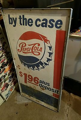 Rare Vintage  Pepsi-Cola Fold Out Curb Sign 2 Sides 4Ft By 2Ft One Side Ruff