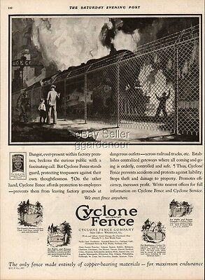 1927 Cyclone Fence Co. Waukegan IL Cleveland OH Steam Locomotive Art Vintage Ad