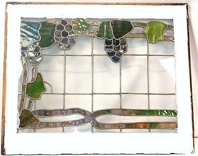 Antique Vintage c1920 Stained Glass Window with Grape Motif Glass MINT RARE