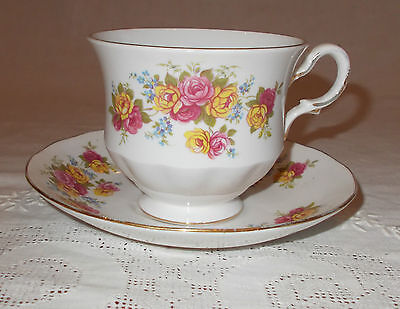 Vintage Royal Vale Bone China Cup And Saucer Duo ~ Pretty Roses