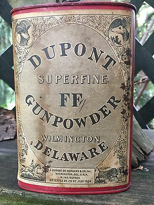 Vintage Dupont FF Gun Powder Red  Tin Can Paper Label Wilmington Delaware