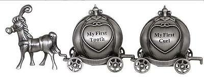 NEW 1st Tooth & Curl Pumpkin Carriage, pewter,Christening, Birth, Baby, New Gift
