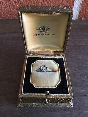 Art Deco Diamond Ring - 18k White Gold Vintage Engagement