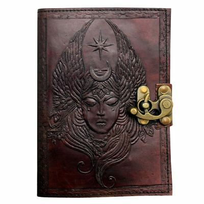 Mystical Moon Goddess Leather Journal - Writing Notebook, Diary & Sketchpad