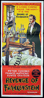 REVENGE OF FRANKENSTEIN Rare Daybill Movie Poster PETER CUSHING Hammer Horror