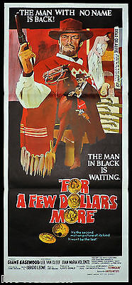 FOR A FEW DOLLARS MORE Original Daybill Movie Poster Clint Eastwood Sergio Leone