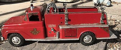 Vintage 1960's Tonka Red Fire Truck no. 5'   Pressed Steel
