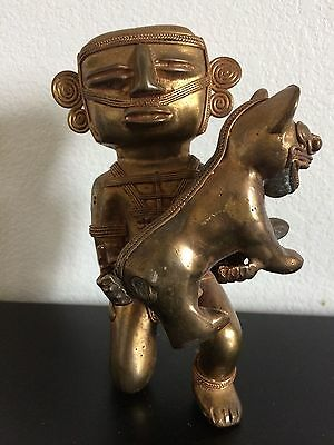 COLOMBIAN GOLD COPPER TUMBAGA - Rare -Knelling Shaman with pet Jaguar