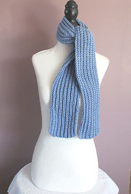 Blue 50 Inch Scarf Childrens Boys Girls Handknit Ribbed Scarf