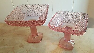 Pair LE Smith Pink Glass Trellis Pattern Square Compotes Footed Pedestal Bowls