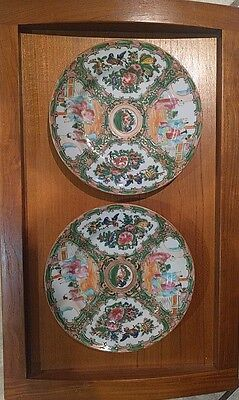 Pair of Vintage Chinese Rose Medallion Porcelain Plate / Dish