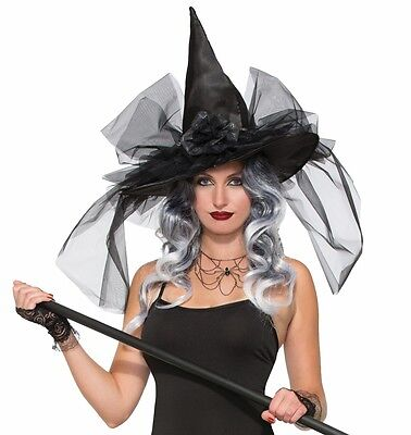 Women's Classic Black Witch Hat Veil Netting Adult Halloween Costume Accessory