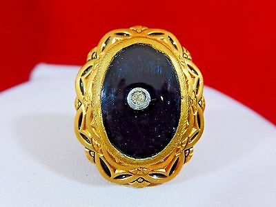 Antique Victorian Edwardian Rolled Gold Black Onyx Large Ladies Ring Size 6
