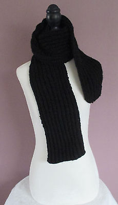 54 Inch Black Scarf Childrens Boys Girls Ladies Handknit Ribbed Neck Warmer