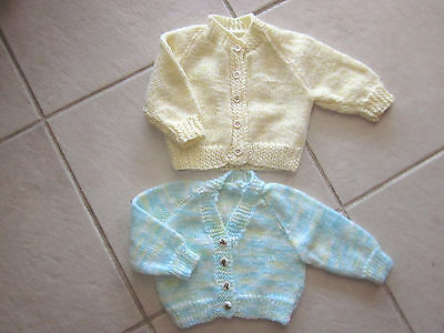 2 Boy's Hand Knitted Baby Cardigans Size 0000 New Without Tags