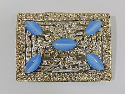 Exceptional Ant. Art Deco Pot Metal Rhinestone Pave' Moonstone Glass Brooch