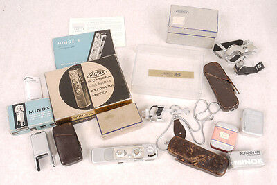 Large Minox B Set - Binocular & Tripod Attachment/Flash/Cases/Chain - All in Box