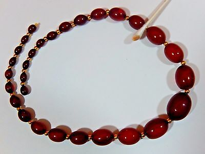 """ART DECO FATURAN RED CHERRY AMBER TESTED BAKELITE EGG BEAD 18"""" NECKLACE  37.59g."""
