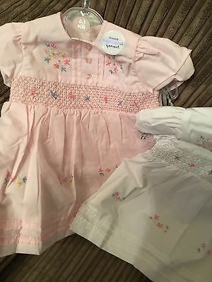 Newborn Baby Girls Dress Hand Embroidered White or Pink & Knickers 0-3 3-6 6-12