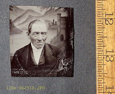 Antique Tintype Photo Close Up View of Old Man Mountain Village Backdrop