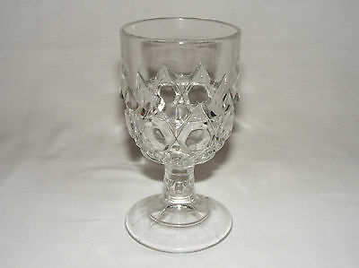"ANTIQUE 1880 EARLY AMERICAN PRESSED GLASS 6"" WINE GOBLET Eapg DIAMOND BUTTON"