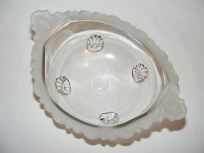 ANTIQUE VICTORIAN EARLY AMERICAN PRESSED GLASS OVAL FROSTED CANDY BOWL Eapg