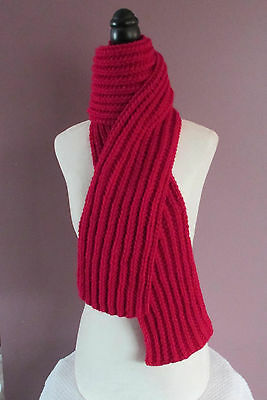 Red Scarf Handknit Ribbed 60 Inch Neck Warmer