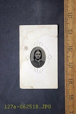 Antique Tintype Photo Mounted in Paper Frame Pretty Young Lady Patterned Dress