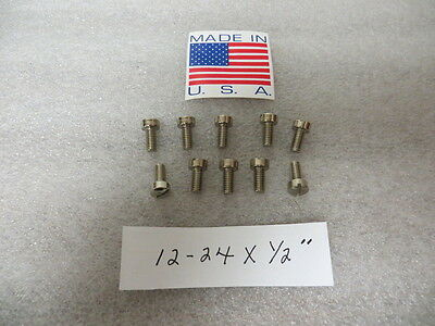 """12-24 x 1/2"""" Brass Nickel Plated Fillister Head Slotted Machine Screws 10 Pack"""
