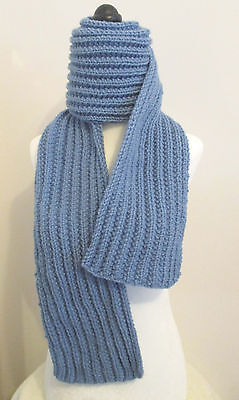 Handknit 60 Inch Blue Ribbed Scarf  Made In Canada
