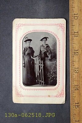 Antique Tintype Photo 2 Ladies Sisters Hats Garden Scene by Gate in Paper Frame
