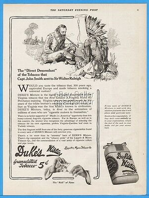 1915 Duke's Mixture Tobacco Durham NC John Smith Native American Indian Ad