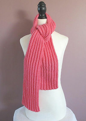60 inch Pink Scarf Knitted Ribbed Neck Warmer