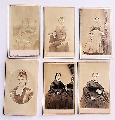 SIX ANTIQUE CDV's PHOTOGRAPHS by JACOBY STROUDSBURG PA CHILD MAN WOMEN FASHION